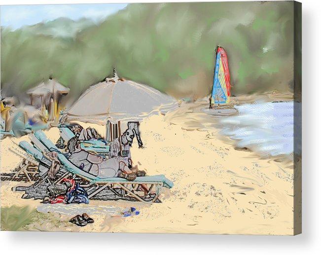 Beach. Toursts Acrylic Print featuring the digital art Reggae Beach by Ian MacDonald