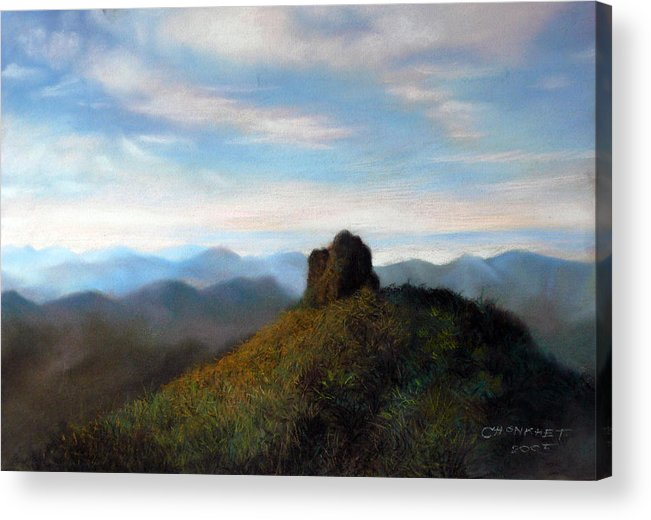 Thai Acrylic Print featuring the painting Thai Landscape by Chonkhet Phanwichien