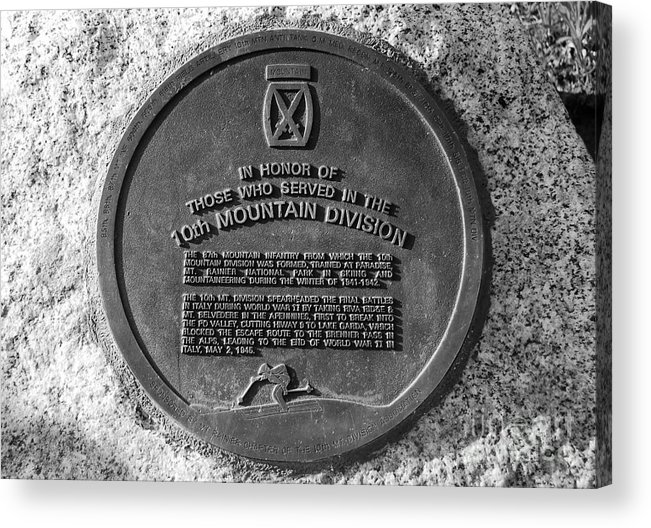 10th Mountain Division Plaque Mount Rainier National Park Washington Acrylic Print featuring the photograph 10th Mountain Division by David Lee Thompson
