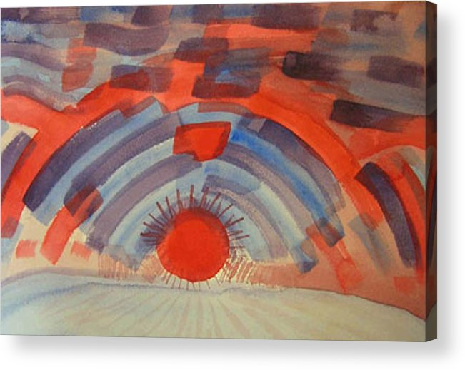 Landscape Acrylic Print featuring the painting Sunset On The Horizon by Natalee Parochka