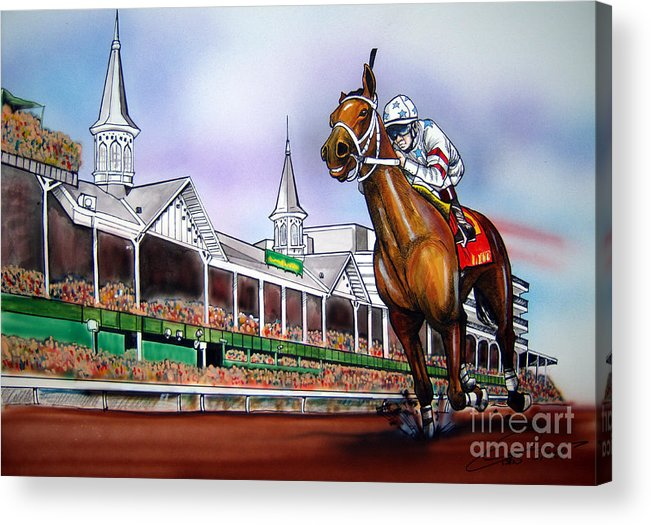 Kentucky Derby Acrylic Print featuring the painting 2008 Kentucky Derby Winner Big Brown by Dave Olsen