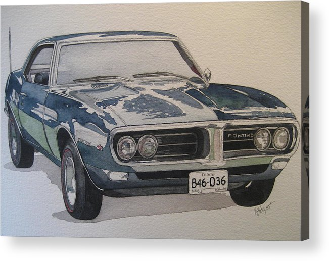 Muscle Car Acrylic Print featuring the painting 68 Firebird Sprint by Victoria Heryet