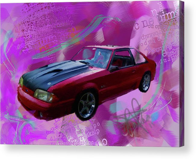 1993 Mustang Acrylic Print featuring the painting 93 Mustang V2 by Donald Pavlica