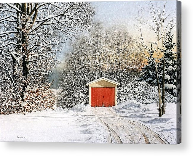 Scenic Acrylic Print featuring the painting A Day In December by Conrad Mieschke