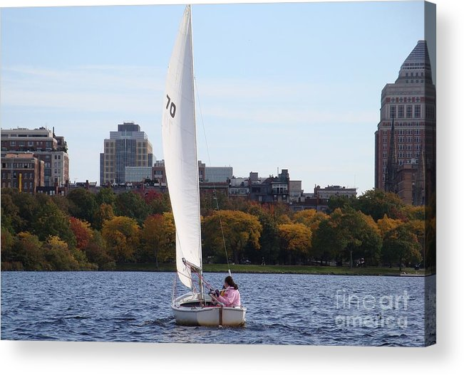 Charles River Acrylic Print featuring the photograph a day on the Charles by Robyn Leakey