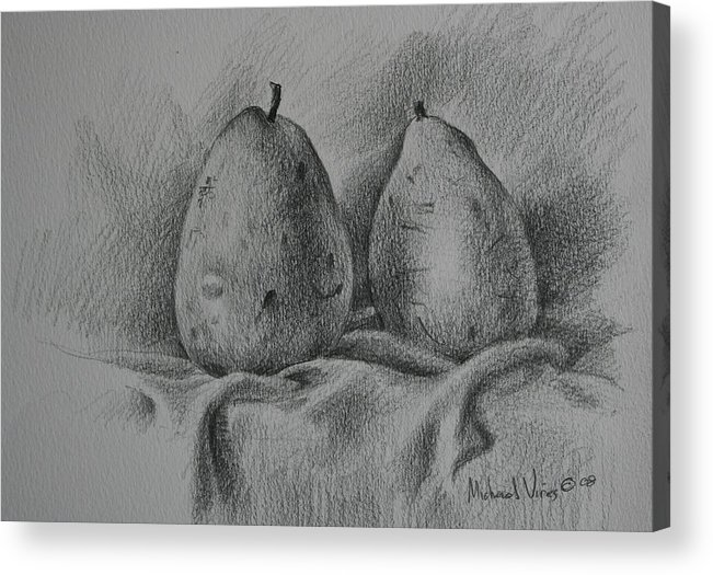 Graphite On Paper Acrylic Print featuring the drawing A Pair Study by Michael Vires