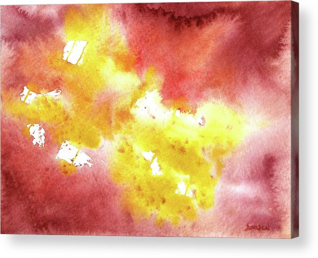 Yellow Acrylic Print featuring the painting Abstract Yellow Connectors by Sean Seal