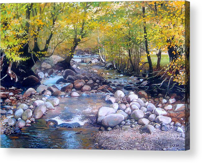 Landscape Acrylic Print featuring the pastel across Bulgaria 3 by Stoian Pavlov
