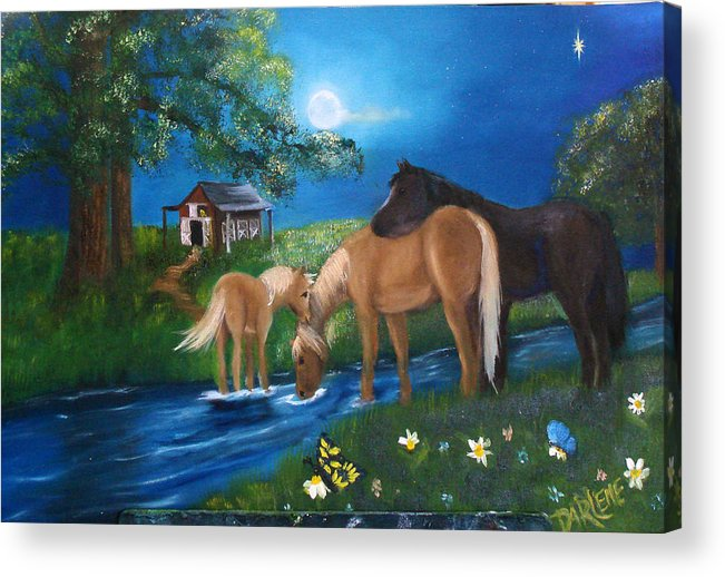 Midnight Acrylic Print featuring the painting Alyssas Horses by Darlene Green