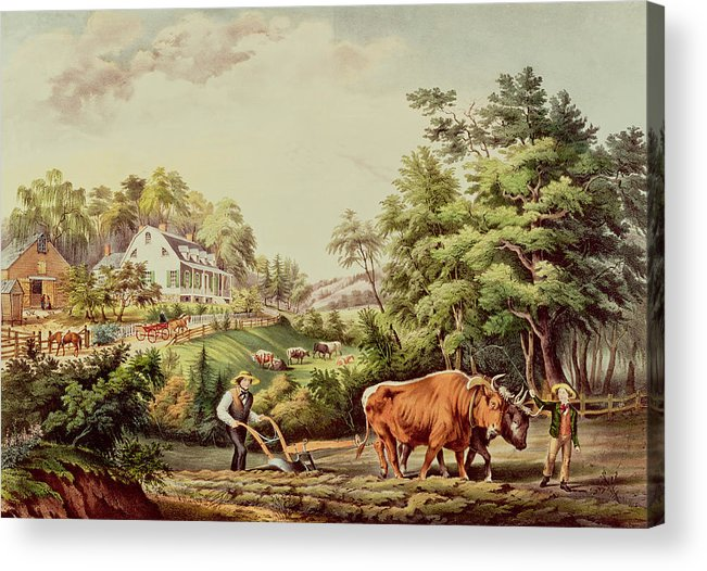 American Acrylic Print featuring the painting American Farm Scenes by Currier and Ives