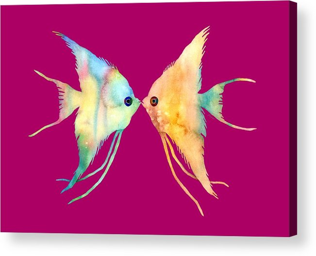 Fish Acrylic Print featuring the painting Angelfish Kissing by Hailey E Herrera