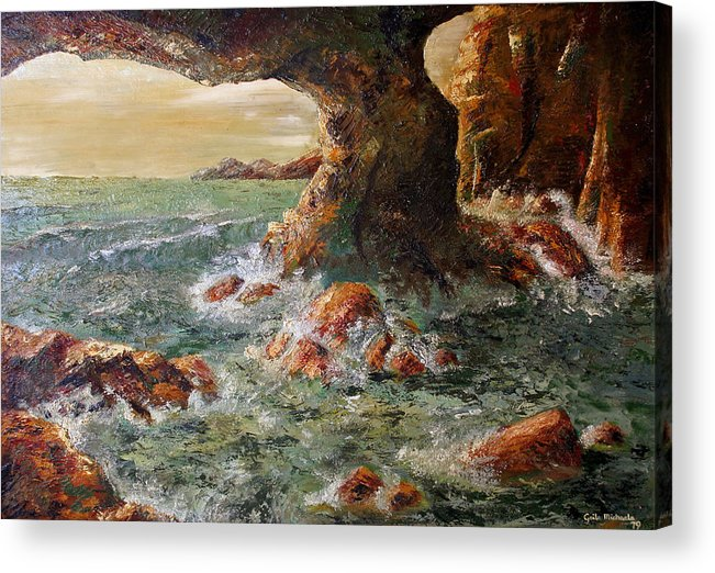 Sea Acrylic Print featuring the painting Approaching Storm by Gaile Griffin Peers