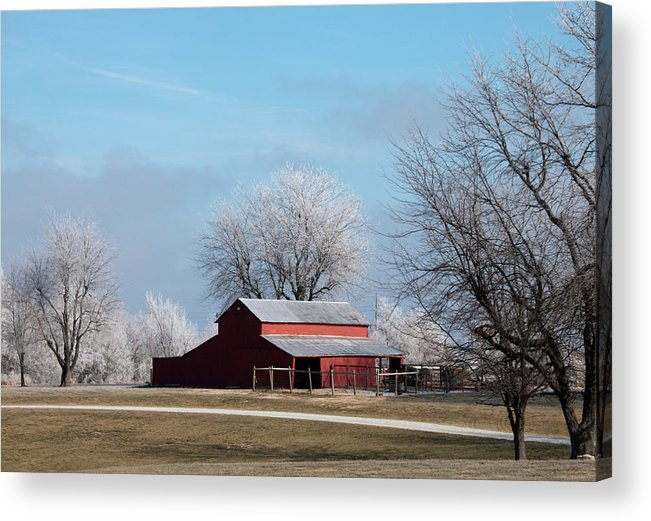 Barn Acrylic Print featuring the photograph Barn On Frosty Morn by David Arment