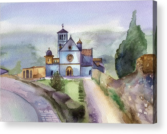 Watercolour Acrylic Print featuring the painting Basilica Of St Francis Assisi by Lydia Irving
