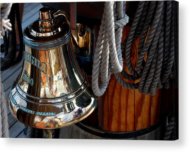 Schooner Acrylic Print featuring the photograph Bell On Schooner Virginia by Gene Sizemore