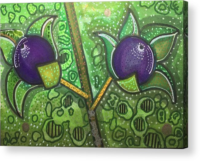 Deadly Nightshade Acrylic Print featuring the mixed media Bella Donna by Regina Jeffers