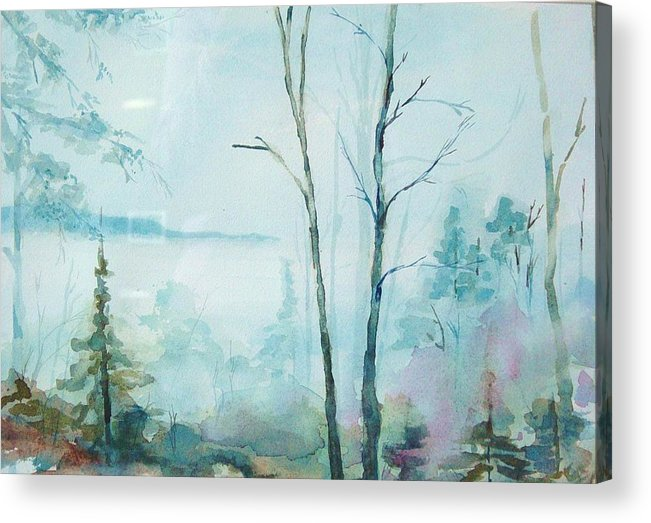 Mountain Landscape Acrylic Print featuring the painting Big Hill Morning by Kris Dixon