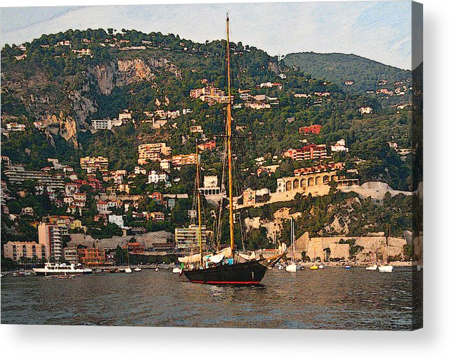 Villefranche Acrylic Print featuring the photograph Black Sailboat At Villefranche II by Steven Sparks