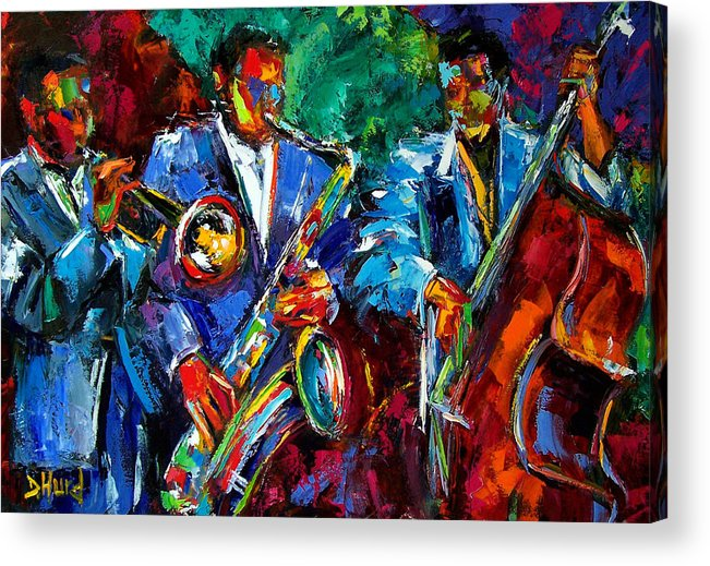 Jazz Art Acrylic Print featuring the painting Blue Jazz by Debra Hurd