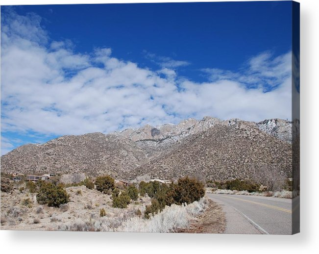 Sandia Mountains Acrylic Print featuring the photograph Blue Skys Over The Sandias by Rob Hans