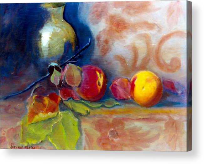 Still Life.brass Acrylic Print featuring the painting Brass And Peaches by Jeanene Stein