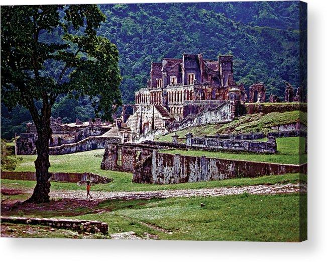 Haiti Acrylic Print featuring the photograph Cap-haitien Haiti - Sans Souci Palace by Johnny Sandaire