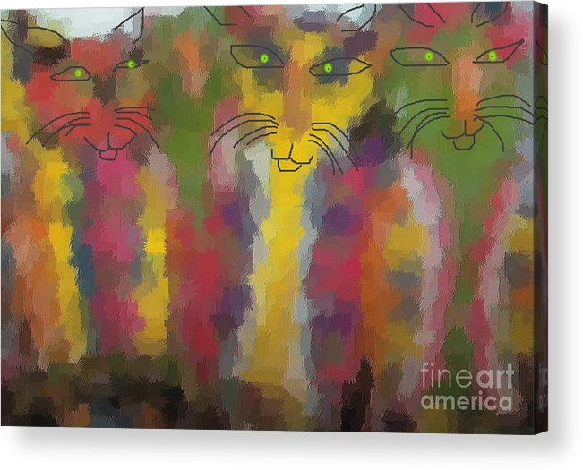Cat Portraits Acrylic Print featuring the painting Cats by Don Phillips