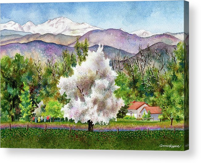 Blossoming Tree Painting Acrylic Print featuring the painting Celeste's Farm by Anne Gifford