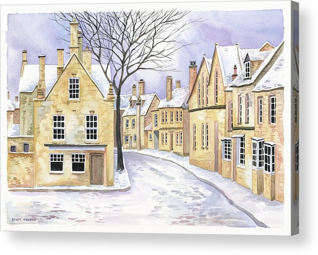 Chipping Campden Acrylic Print featuring the painting Chipping Campden In Snow by Scott Nelson