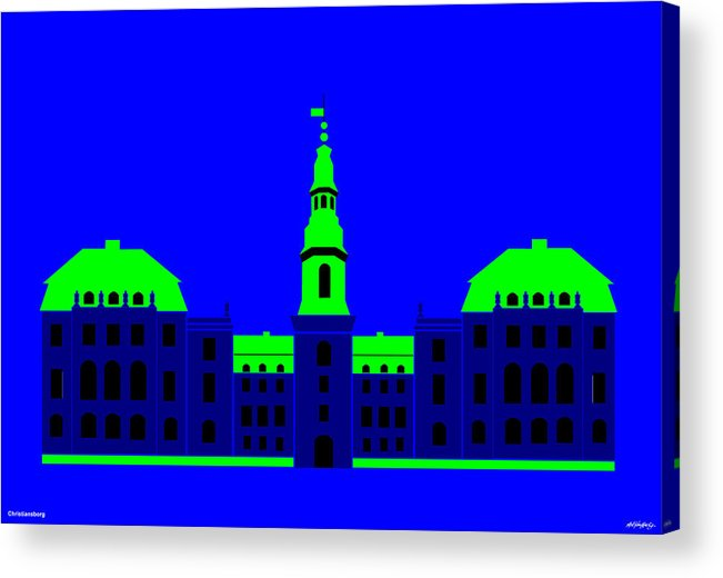 Acrylic Print featuring the painting Christiansborg Palace by Asbjorn Lonvig