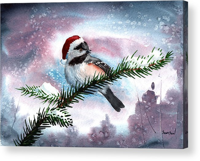 Birds Acrylic Print featuring the painting Christmas Chic by Sean Seal