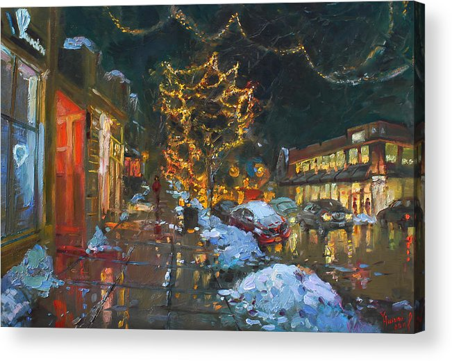 Christmas Lights Acrylic Print featuring the painting Christmas Reflections by Ylli Haruni