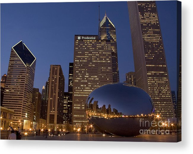 Cloud Gate Acrylic Print featuring the photograph Cloud Gate At Night by Timothy Johnson