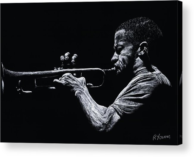 Musician Acrylic Print featuring the pastel Contemporary Jazz Trumpeter by Richard Young