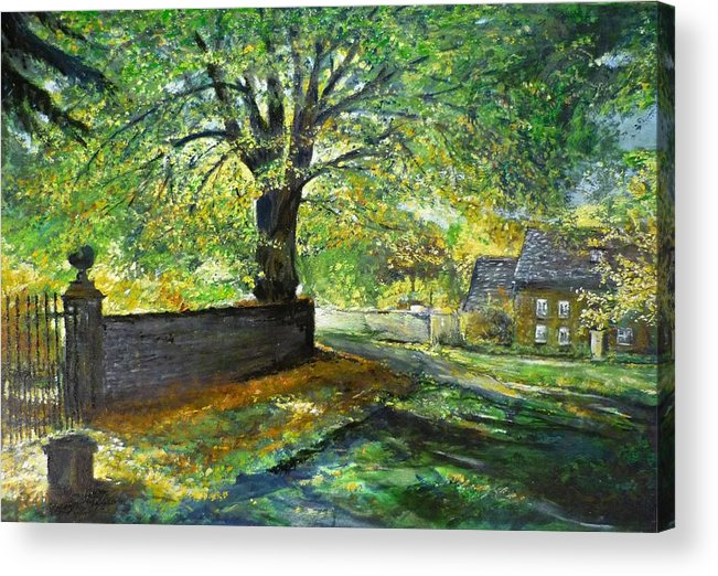 Landscape Acrylic Print featuring the painting Cotswold Lane by Lizzy Forrester