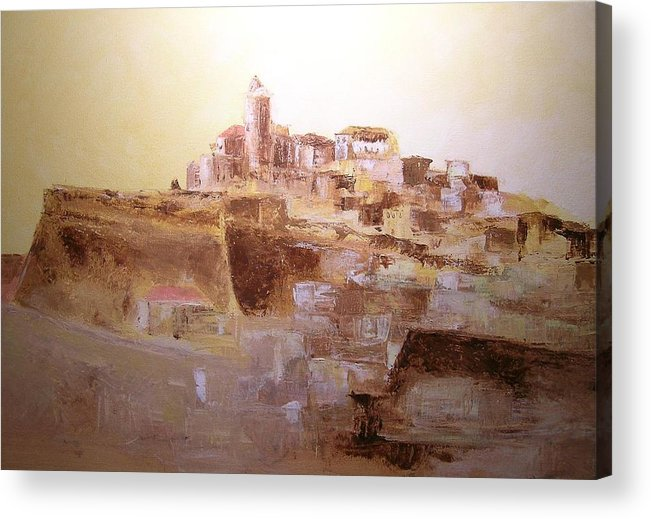 Original Cityscpae Acrylic Print featuring the painting D Alt Vila Ibiza Old Town by Lizzy Forrester