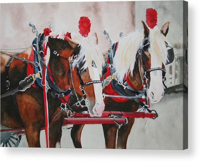 Horse Acrylic Print featuring the painting Dandy Duo by Jean Blackmer