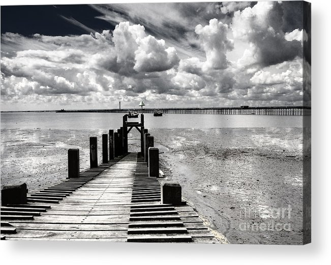 Wharf Southend Essex England Beach Sky Acrylic Print featuring the photograph Derelict Wharf by Sheila Smart Fine Art Photography