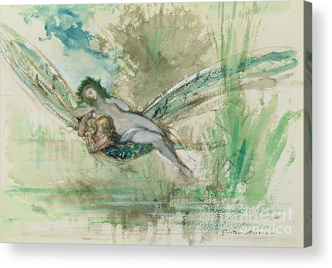 Dragonfly Acrylic Print featuring the painting Dragonfly by Gustave Moreau