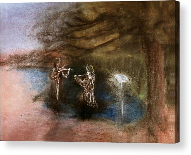 Duet Acrylic Print featuring the drawing Duet by Mushtaq Bhat