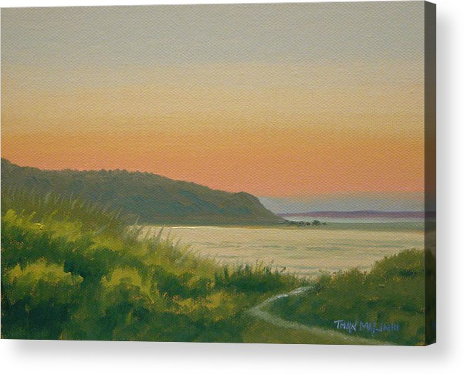 Seascape Acrylic Print featuring the painting Dusk Lamberts Cove by Thaw Malin III