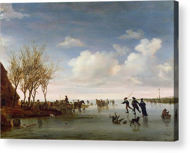 Dutch Acrylic Print featuring the painting Dutch Landscape With Skaters by Salomon van Ruysdael