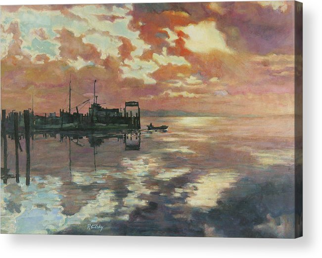 Harbor Acrylic Print featuring the painting Early Departure by Robert Tutsky