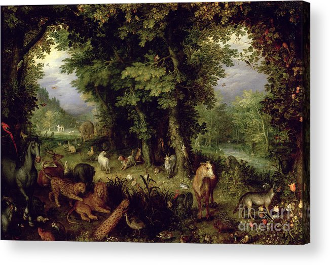 Animal; Animals Acrylic Print featuring the painting Earth Or The Earthly Paradise by Jan the Elder Brueghel