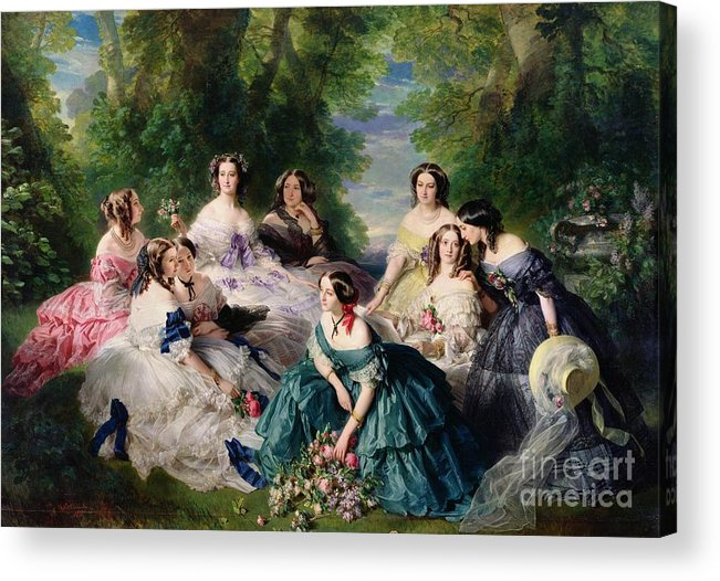 Empress Acrylic Print featuring the painting Empress Eugenie Surrounded By Her Ladies In Waiting by Franz Xaver Winterhalter