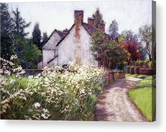 England Acrylic Print featuring the painting England Cottage by L Diane Johnson