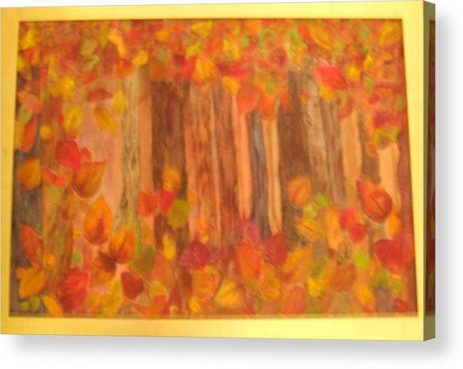 Fall Colors Acrylic Print featuring the mixed media Falling Leaves by Sheryl Sutherland