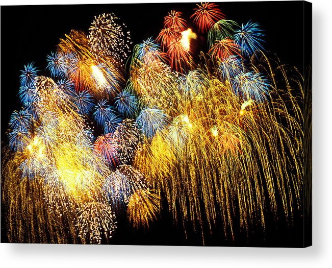 4th Of July Acrylic Print featuring the photograph Fireworks Exploding by Garry Gay