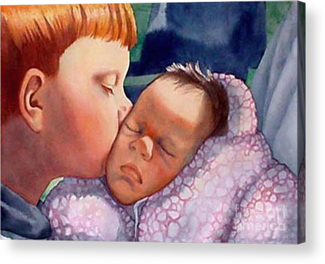 Portrait Acrylic Print featuring the painting First Kiss by Gail Zavala