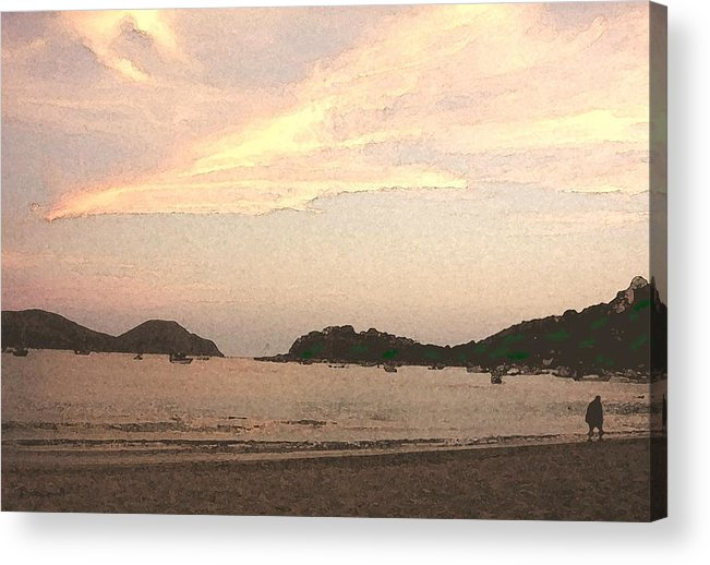 Bay Acrylic Print featuring the mixed media Fishing Bay At Sunset by James Johnstone